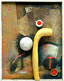 Kurt Schwitters, Fredlyst with yellow artificial bone, 1940-41, 1945 and 1947